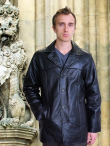 Higgs Leathers LAST FEW BIG SIZES!  Mitch (mens long black leather jacket)
